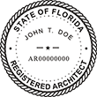 Looking for Registered Architect Professional Seal Stamps for Florida? Find the custom Florida architect stamps you need here.