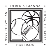 This sporty monogram stamp works perfect for a family or company that is athletically focused. Spice up your return address with this address stamp. EZ Custom Stamps | (608) 310-4300