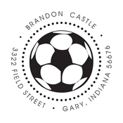 This soccer ball monogram stamp is a great addition to the invitations for your soccer themed party. Customize your address stamp now at EZ Custom Stamps | (608) 310-4300