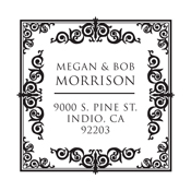 Well designed address stamp with a square intricate border. Customize this monogram stamp for a wedding shower present or housewarming gift. EZ Custom Stamps | (608) 310-4300