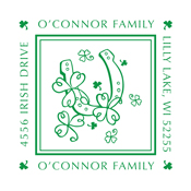 Celebrate your Irish Heritage with this lucky monogram stamp that can be customized to include your family or business address. EZ Custom Stamps | (608) 310-4300