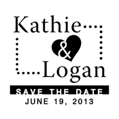 Use this custom Save the Date monogram stamp to give your wedding invites a little pizazz. Wedding Save the Date stamp can be customized with both of your names and the date. EZ Custom Stamps | (608) 310-4300