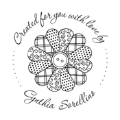 """Looking for a custom """"Crafted For You With Love"""" monogram stamp? Shop this craft flowy design that is customizable to include your name and color of choice."""