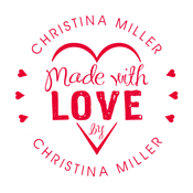 """Looking for a custom monogram stamp? Shop this """"Made With Love"""" heart design stamp that allows for custom name and text in a color of your choice."""