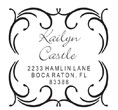 Thin-delicately designed monogram with script custom address in the center. Customize your personal address stamp now. EZ Custom Stamps |(608) 310-4300