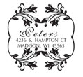 Floral monogram stamp that can be customized as an address stamp. Rectangular impression with a floral border around your custom text. EZ Custom Stamps | (608) 310-4300