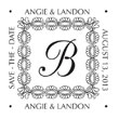 Looking for a decorative monogram stamp? This customizable stamp features an embellished design with room for custom border text in a color of your choice.