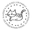 Acknowledge your feline friend on your custom round address stamp. This monogram includes an image of a cat surrounded by your name and address. Customize now at EZ Custom Stamps | (608) 310-4300