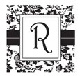 Looking for a custom monogram stamp? This square stamp features a custom floral pattern design with room for an initial in a color of your choice.