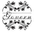 Monogram name stamp with a floral border and underlined name. Shop now at EZ Custom Stamps | (608) 310-4300
