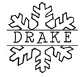 Cute winter themed name monogram stamp with an outline of a snowflake around your personalized name. EZ Custom Stamps | (608) 310-4300